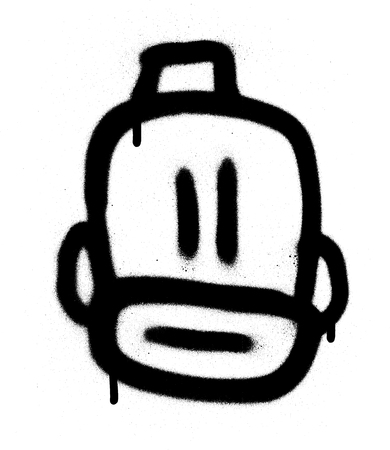 graffiti bearded emoji with a fez in black over white