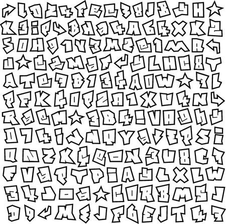graffiti font and number alphabet sketch page Illustration