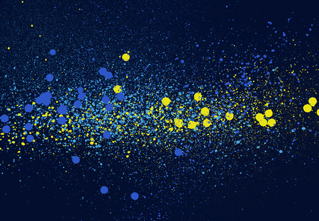 graffiti speckled space background in blue yellow