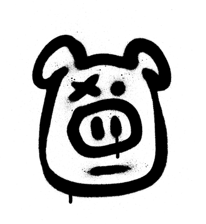 graffiti hog sprayed in black on white
