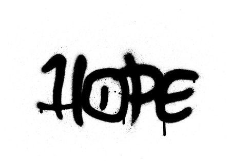graffiti hope word sprayed with leak in black on white Ilustrace