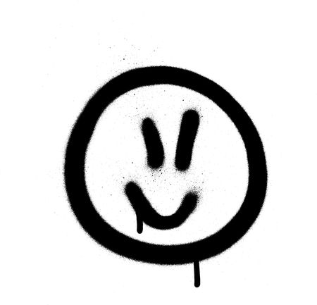 Graffiti jofull emoji sprayed in black on white