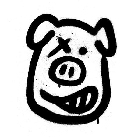 Graffiti pig emoji sprayed in black on white Illustration