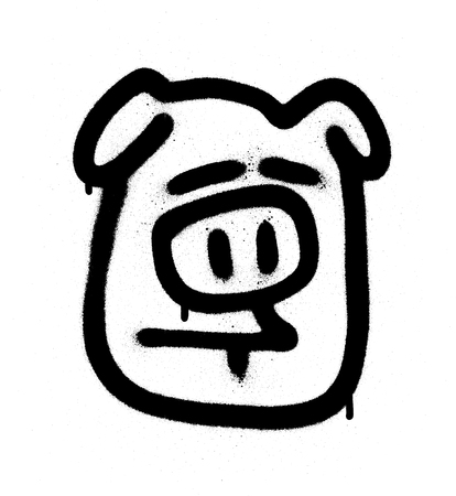 Graffiti sceptical pig emoji sprayed in black on white