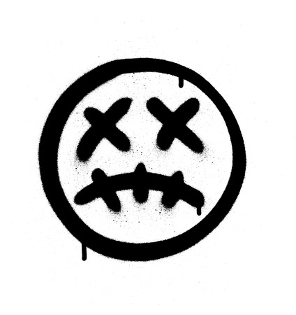 Graffiti eng, ziek emoji gespoten in zwart op wit