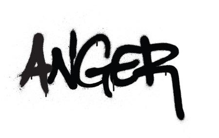 graffiti anger word sprayed in black over white