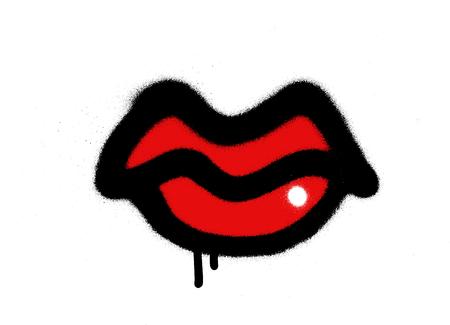 Graffiti rozpryskiwał czerwone usta z połyskiem na białym