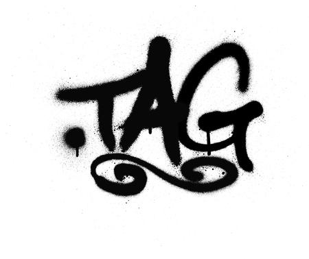 graffiti tag gespoten met lek in zwart op wit Stock Illustratie