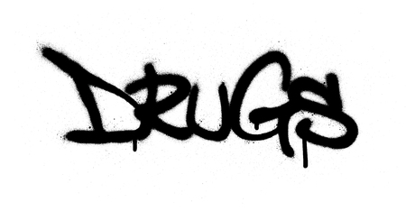 graffiti sprayed drugs word in black over white