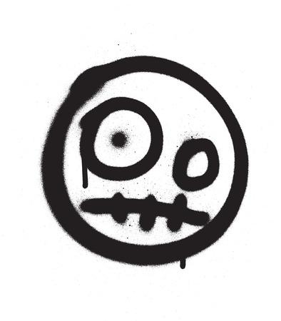 Graffiti scary emoji sprayed in black over white