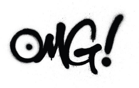 Abréviation de chat OMG graffiti en noir sur blanc