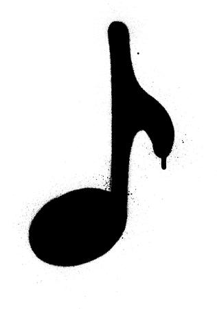 graffiti musical note sprayed in black over white