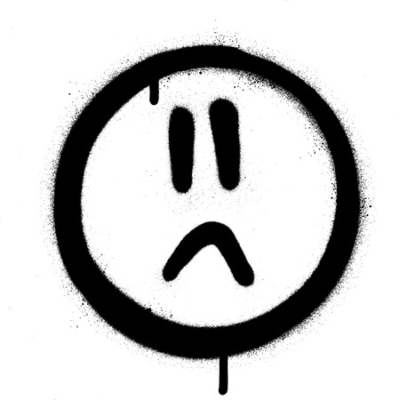 graffiti sprayed sad face icon in black over white