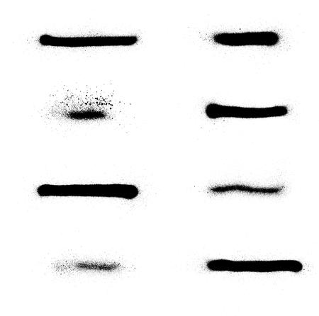 Aufgesprühte Graffiti-Streifensammlung in Schwarz über Weiß Vektorgrafik