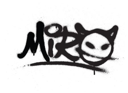 Etiqueta de graffiti miro rociado con fugas en negro sobre blanco Ilustración de vector
