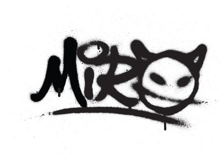 graffiti tag miro sprayed with leak in black on white