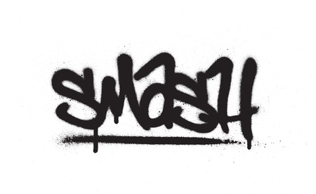 graffiti smash word sprayed in black over white