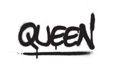 Graffiti queen palabra rociada en negro sobre blanco