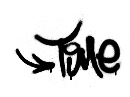 graffiti time word sprayed in black over white