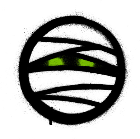 graffiti mummy icon with green glowing eyes over white
