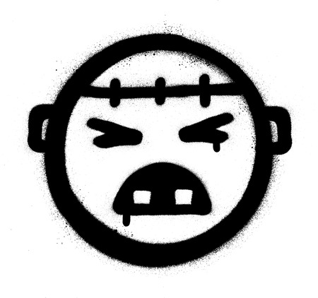 graffiti angry monster icon black over white