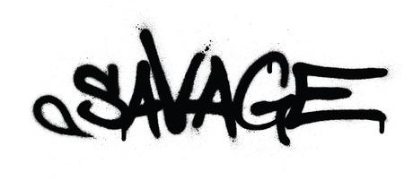 Graffiti salvaje palabra rociada en negro sobre blanco