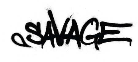 graffiti savage word sprayed in black over white Ilustracja