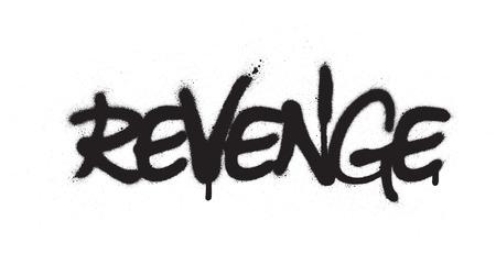 graffiti revenge word sprayed in black over white