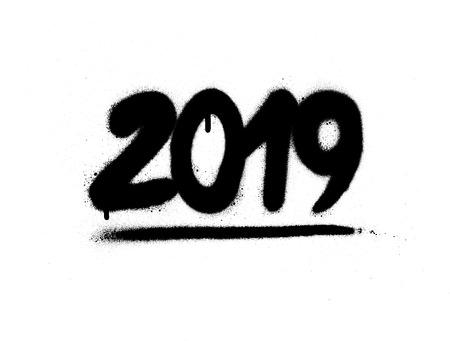 graffiti 2019 date sprayed in black over white Vector Illustratie