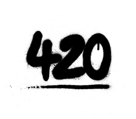graffiti 420 number sprayed in black over white
