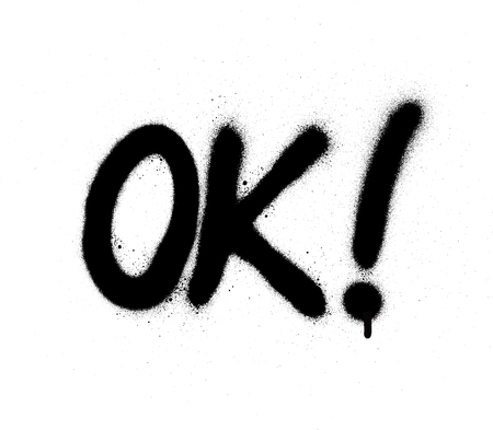 graffiti ok abbreviation in black over white