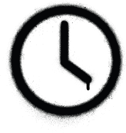 graffiti time icon sprayed in black over white