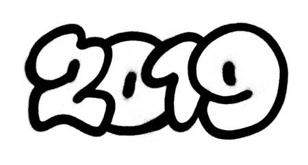 graffiti 2019 sprayed in black over white