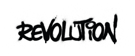graffiti revolution word sprayed in black over white