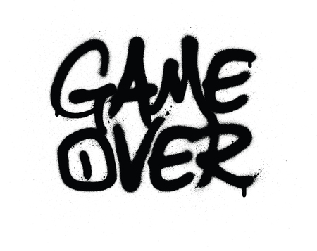 Graffiti-Spiel über Text in Schwarz auf Weiß gesprüht