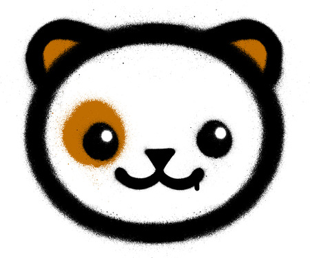 graffiti cute kawaii kitten sprayed over white Ilustração