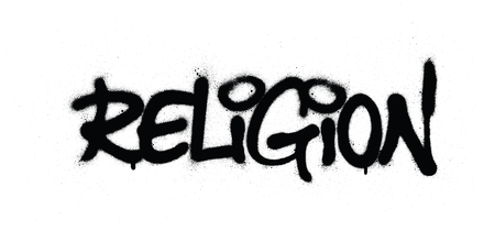 graffiti religion word sprayed in black over white