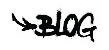 graffiti blog word sprayed in black over white