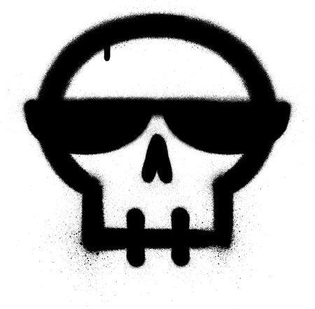 graffiti skull with sunglasses sprayed in black over white
