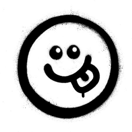 graffiti hungry emoticon sprayed in black over white
