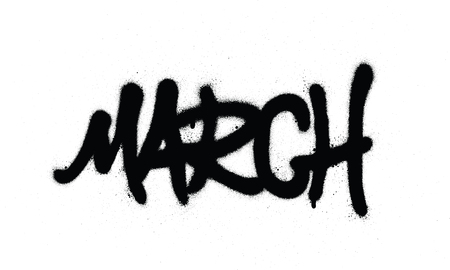 graffiti marchword sprayed in black over white