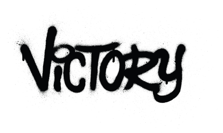 graffiti victory word sprayed in black over white