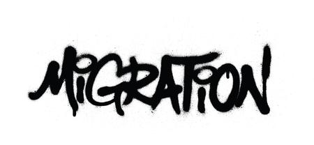 graffiti migration word sprayed in black over white