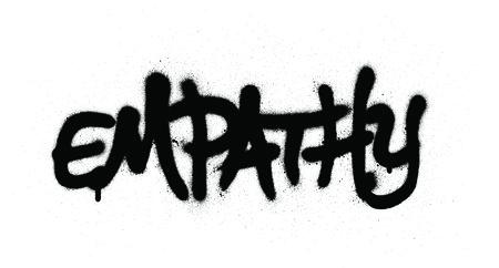 graffiti empathy wrord sprayed in black over white