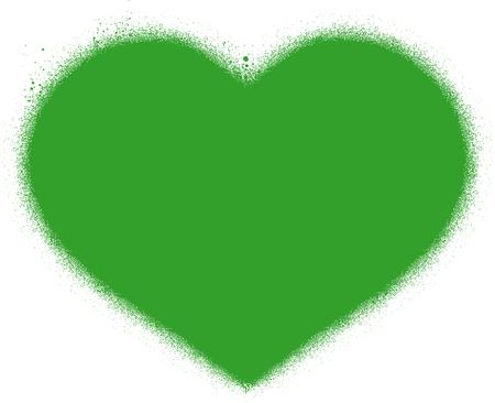 graffiti heart sprayed in green over white Illustration