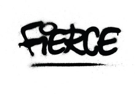 mot féroce graffiti pulvérisé en noir sur blanc Vecteurs