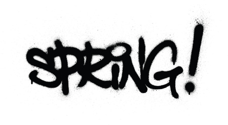graffiti spring word sprayed in black over white