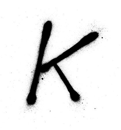 graffiti thin K font sprayed in black over white Vektorové ilustrace