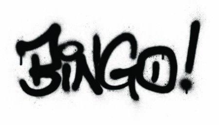 graffiti bingo word sprayed in black over white
