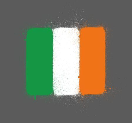 graffti Ireland flag sprayed over gray